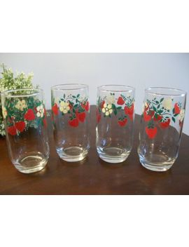 4 Vintage Anchor Hocking 1989 Strawberry 12 Oz Tumblers Swanky Swigs Glasses by Ebay Seller