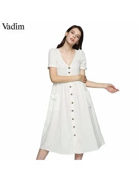 Vadim Women Sexy V Neck Solid Midi Dress Pockets Buttons Short Sleeve Pleated Ladies Casual Brand Chic Dresses Vestidos Qz3650 by Vadim