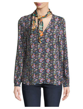 Open Scarf V Neck Long Sleeve Floral Print Blouse by Frame