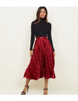 Cameo Rose Burgundy Pleated Satin Midi Skirt by New Look