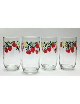 Vintage Strawberry Flower Vine Glasses Tumblers Anchor Hocking 1980s Drinkware by Ebay Seller
