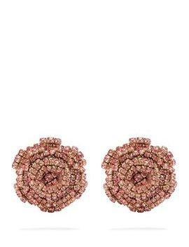 Ava Crystal Embellished Rose Earrings by Rebecca De Ravenel