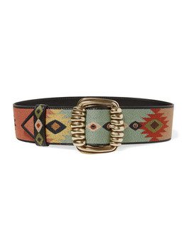 Embroidered Leather Waist Belt by Etro