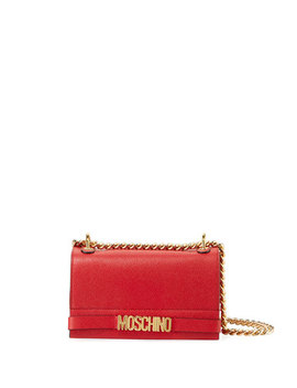 Glossy Chain Leather Crossbody Bag by Moschino