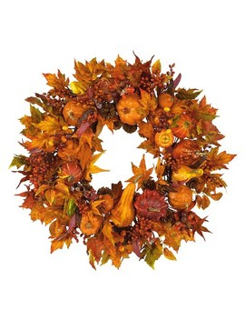 "Nearly Natural 28 In"" Harvest Wreath by Shop Collections"