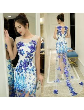 Sennyo   Sleeveless Floral Embroidery Evening Gown by Sennyo