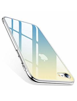 Torras I Phone 8 Case, I Phone 7 Case [Fancy Series] Unique Clear Gradient 9 H Glass Anti Yellow Case Slim Thin With Silicone Bumper Hard I Phone 7/8 Phone Case Cover   Blue by Torras