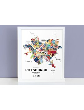 Pittsburgh City Map Print by J Hill Design