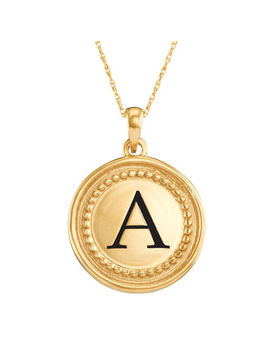 Personalized 14 K Yellow Gold Initial Disc Pendant Necklace by Fine Jewelry