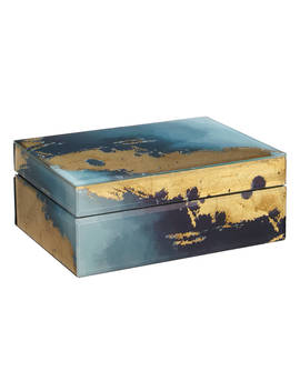 John Lewis & Partners Printed Glass Trinket Box, Black/Gold by John Lewis & Partners