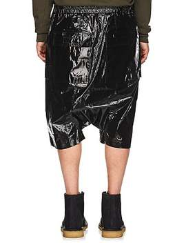 Coated Cotton Drop Rise Cargo Shorts by Rick Owens Drkshdw
