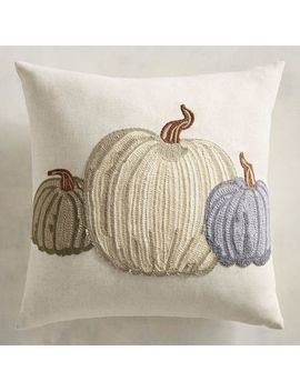 Embroidered White &Amp; Blue Pumpkins Pillow by Gracious Gatherings Collection