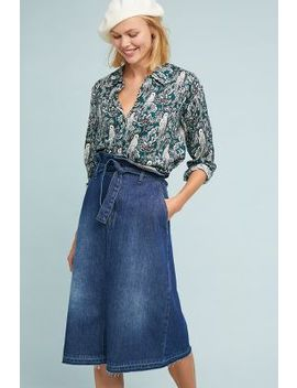 Paperbag Waisted Denim Skirt by Anthropologie