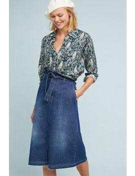Paperbag Waisted Denim Skirt by Anthropologie