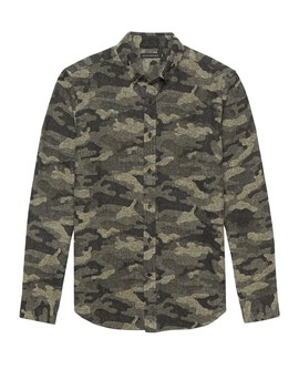 Br X Kevin Love | New Slim Fit Japanese Cotton Blend Camo Shirt by Banana Repbulic