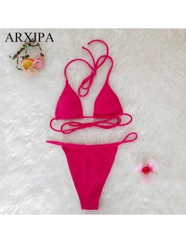 Arxipa 2018 New Women Mini Bikini Thong Pad Triangle Swimsuit Micro Elastic Spaghetti G String Swimwear Tie Sexy String Halter S by Arxipa