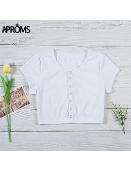Aproms Elegant Short Sleeve Knitted Crop Top Women Fashion 2018 Buttons Down Female Tank Tops Streetwear Elastic Slim Fit Camis by Aproms