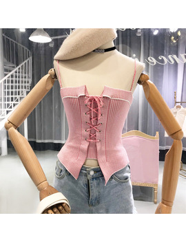 Summer 2018 New Fashion Sexy Cross Lacing Slim Suspenders Camis Lady Korean Knitted Sleeveless Vest Bandage Casual Crop Tops by New Veeliya