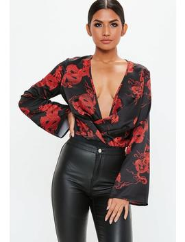 Black Dragon Print Flare Sleeve Bodysuit by Missguided