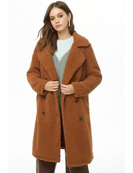 Faux Shearling Double Breasted Coat by Forever 21
