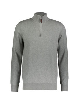 Grey Marl Quarter Zip Pullover by Harvey & Jones