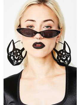 Mystic Feline Cutout Earrings by Rat Baby