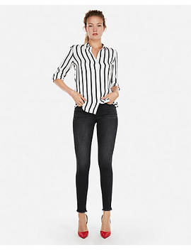 Striped Satin Twill No Pocket City Shirt By Express by Express