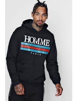 Homme Paris Print Hoodie by Boohoo