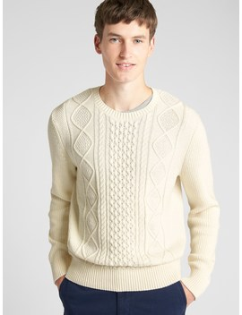 Cable Knit Crewneck Pullover Sweater by Gap