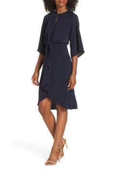 Feather Crepe Tie Front Dress by Maggy London