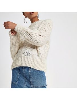 Cream Chunky Knit Sweater by River Island
