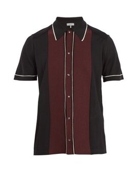 Contrast Panel Button Down Wool Polo Shirt by Lanvin
