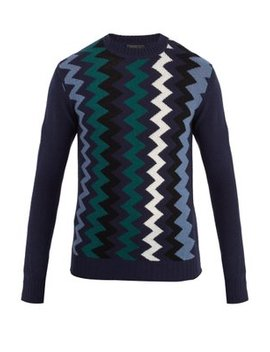 Zigzag Intarsia Wool And Cashmere Blend Sweater by Prada