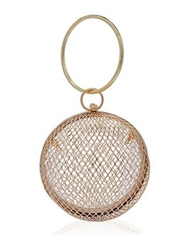 Miuco Women Chain Crossbody Bags Hollow Out Cage Metal Round Clutch by Miuco