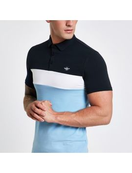 Blue Block Print Muscle Fit Polo Shirt by River Island