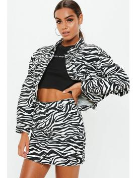 White Zebra Print Denim Skirt by Missguided