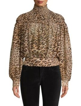 Smocked Cheetah Blouse by Frame