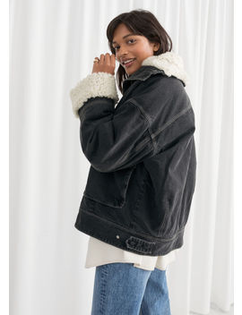 Denim Faux Shearling Jacket by & Other Stories