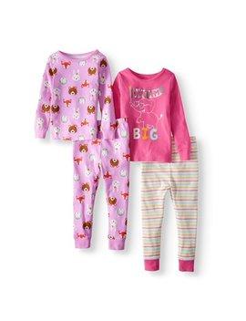 Cotton Tight Fit Pajamas, 4 Piece Set (Toddler Girls) by Wonder Nation