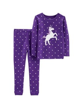 Long Sleeve Cotton Tight Fit Pajamas, 2 Piece Set (Baby Girls & Toddler Girls) by Child Of Mine By Carter's