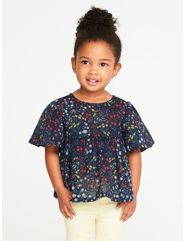 Floral Print Babydoll Top For Toddler Girls by Old Navy