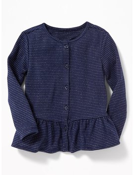 Peplum Hem Metallic Stripe Top For Toddler Girls by Old Navy