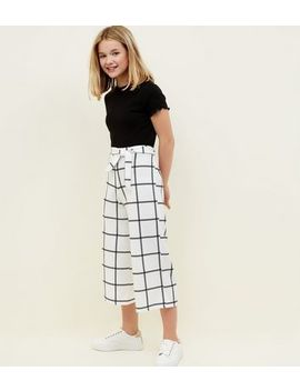 Girls White Grid Check Culottes by New Look