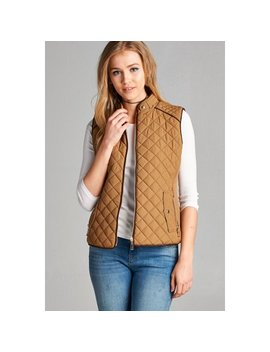 Women's Quilted Padding Lightweight Vest W/ Suede Piping Zip Up In Several Colors by Active Basic