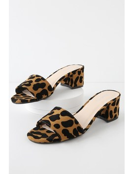 Catarina Camel And Black Leopard Suede Mules by Lulu's