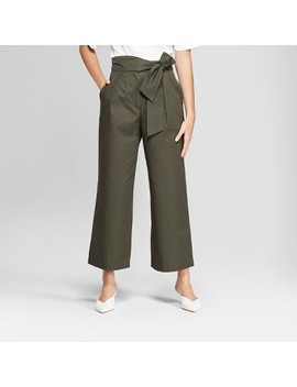 Women's Wide Leg Tie Front Ankle Length Trouser   Prologue™ Olive by Prologue™