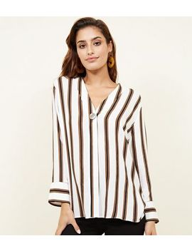 Off White Stripe Single Button Blouse by New Look