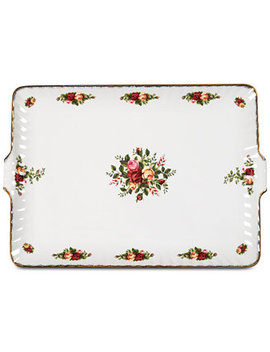 "Old Country Roses Fluted Serving Tray 12.5"" by Royal Albert"