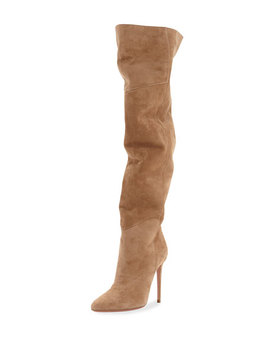 Alma Over The Knee Slouchy Suede Boots Suede by Aquazzura