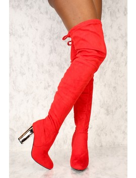 Sexy Red Slim Pointy Toe Thigh High Boots Metallic Chunky Heel Faux Suede by Ami Clubwear